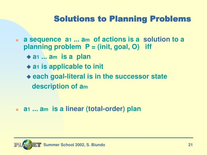 Solutions to Planning Problems
