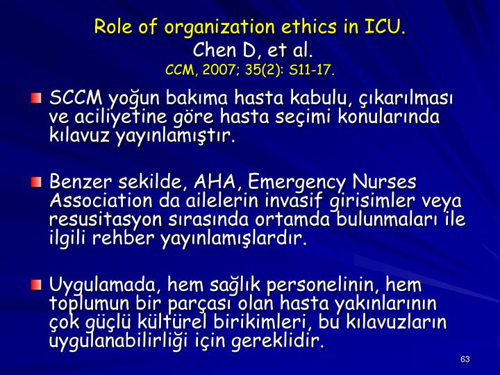 Role of organization ethics in ICU.