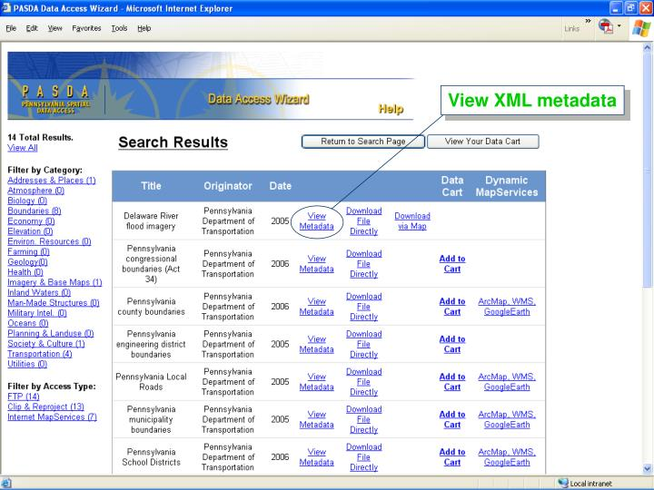 View XML metadata