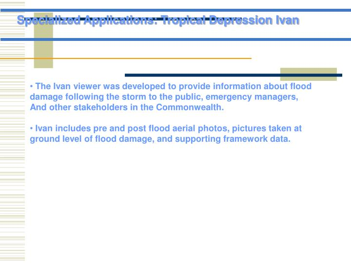Specialized Applications: Tropical Depression Ivan
