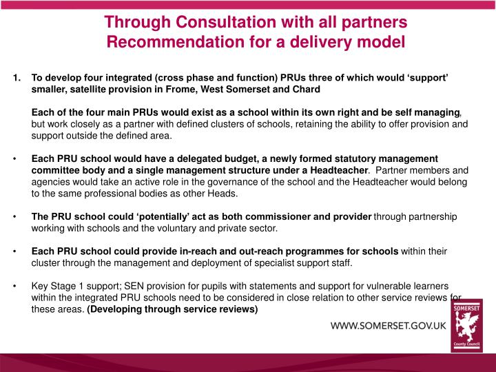 Through Consultation with all partners