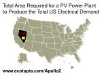 total area required for a pv power plant to produce the total us electrical demand