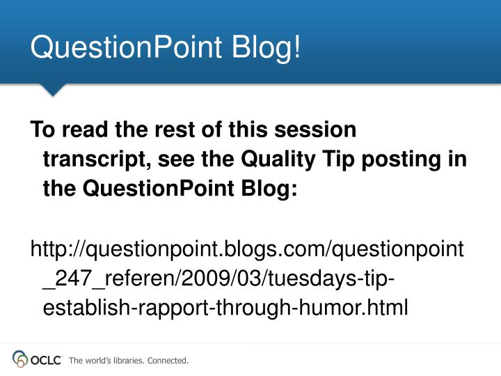 QuestionPoint Blog!