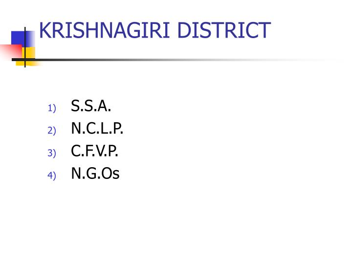 KRISHNAGIRI DISTRICT
