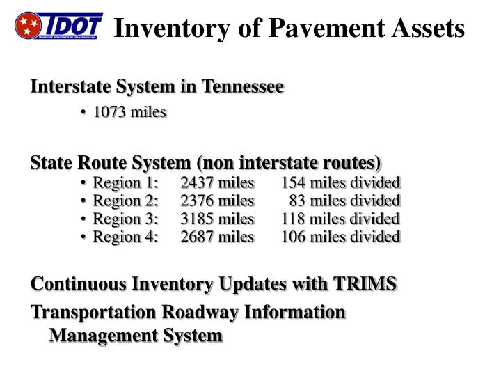 Inventory of pavement assets