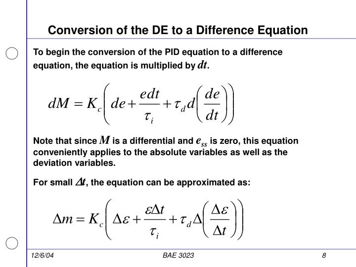 Conversion of the DE to a Difference Equation