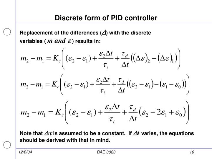 Discrete form of PID controller
