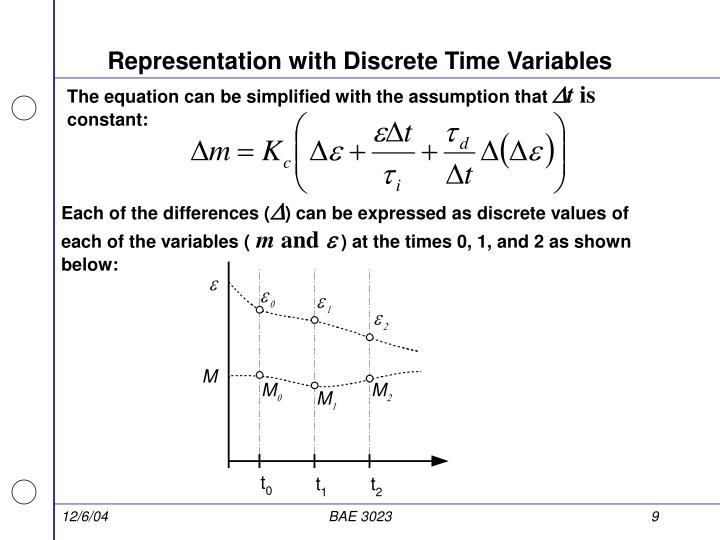 Representation with Discrete Time Variables