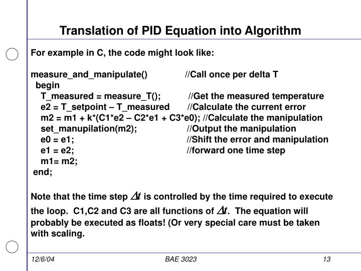 Translation of PID Equation into Algorithm