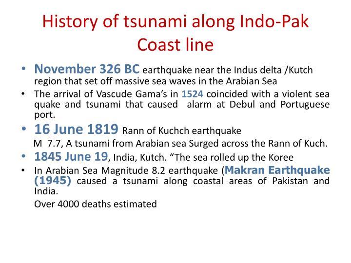 History of tsunami along Indo-Pak Coast line