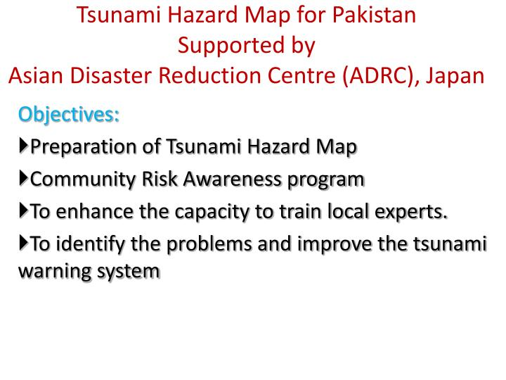 Tsunami Hazard Map for Pakistan