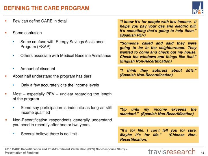 DEFINING THE CARE PROGRAM