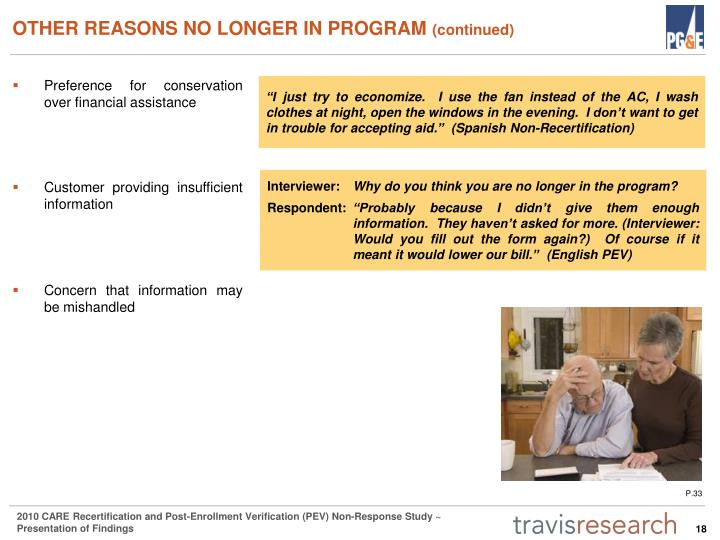 OTHER REASONS NO LONGER IN PROGRAM