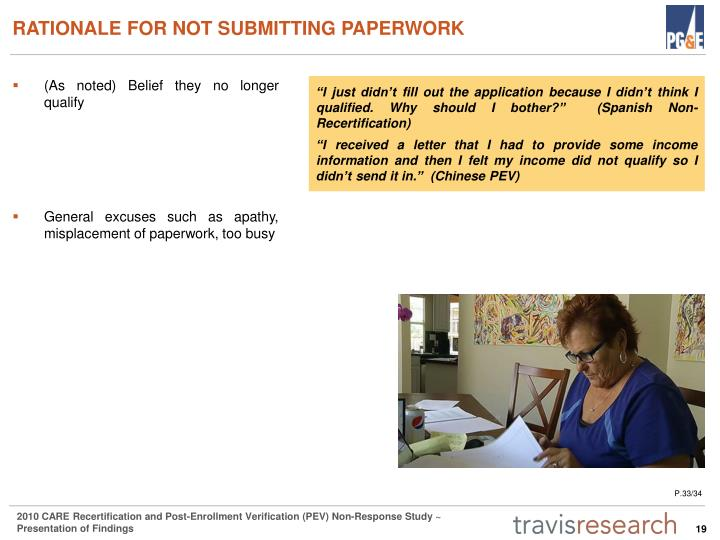 RATIONALE FOR NOT SUBMITTING PAPERWORK