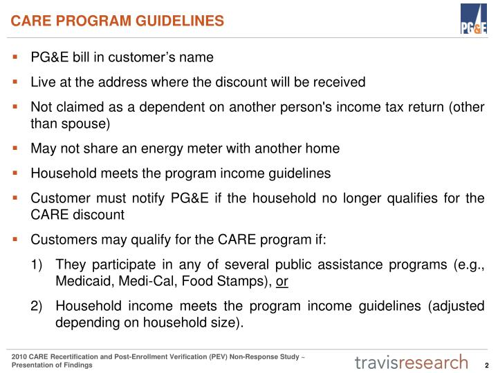 CARE PROGRAM GUIDELINES