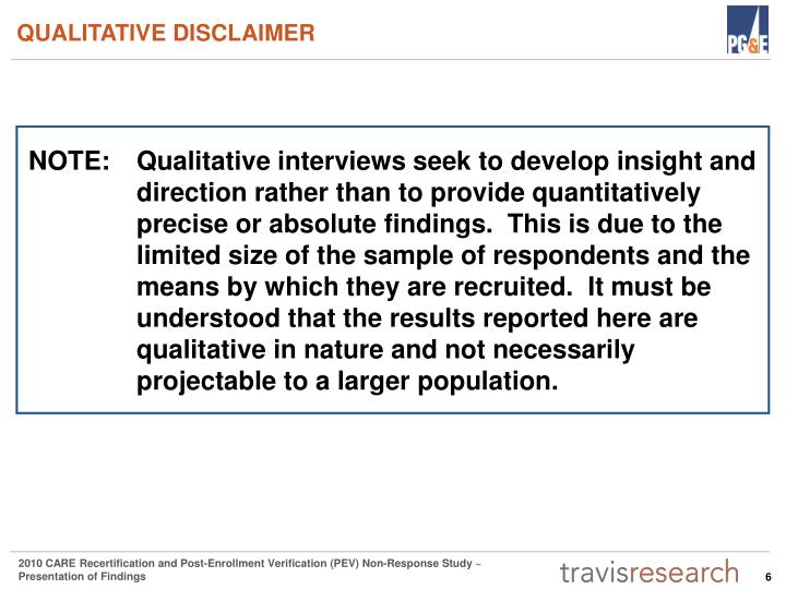 QUALITATIVE DISCLAIMER