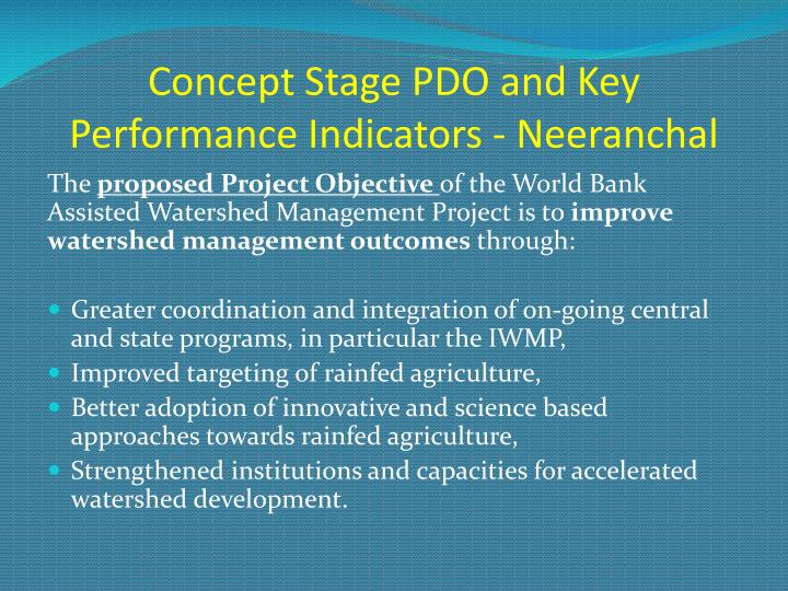 Concept stage pdo and key performance indicators neeranchal