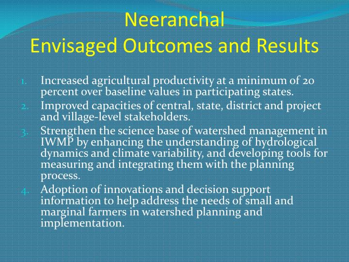 Neeranchal envisaged outcomes and results