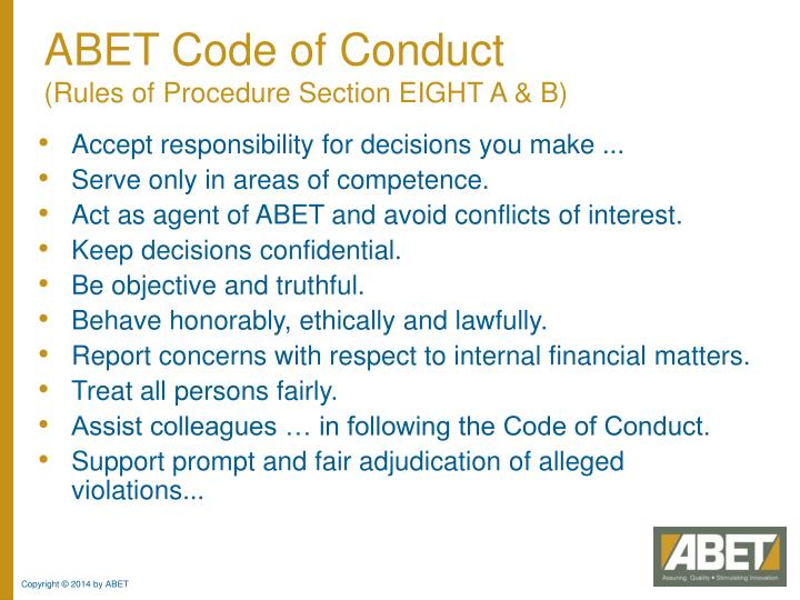 ABET Code of Conduct