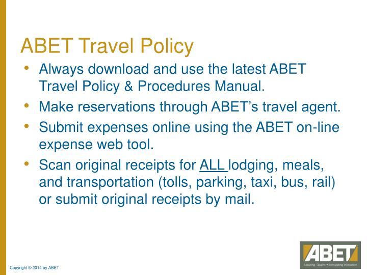 ABET Travel Policy