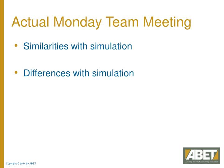 Actual Monday Team Meeting