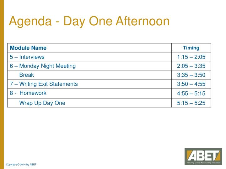 Agenda - Day One Afternoon