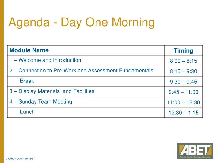 Agenda - Day One Morning