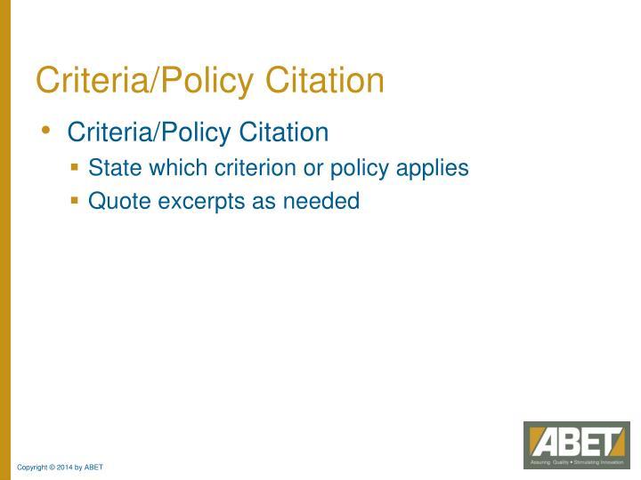 Criteria/Policy Citation