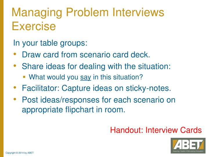Managing Problem Interviews