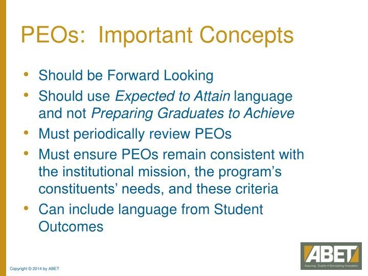 PEOs:  Important Concepts