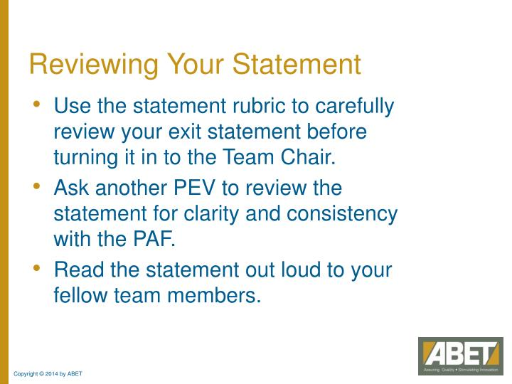 Reviewing Your Statement