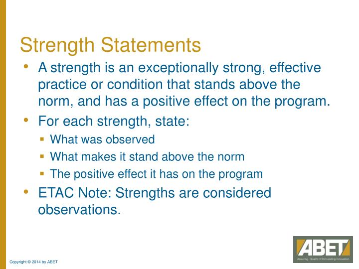 Strength Statements