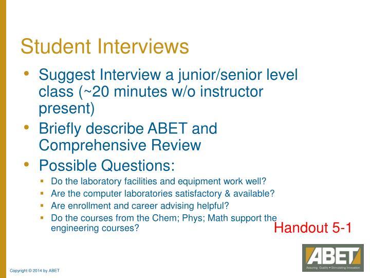 Student Interviews