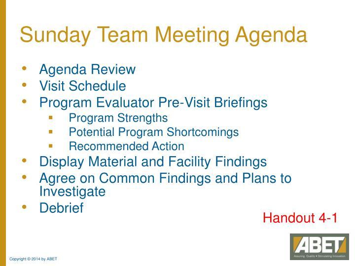 Sunday Team Meeting Agenda