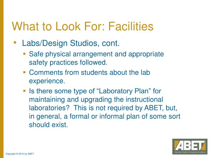 What to Look For: Facilities