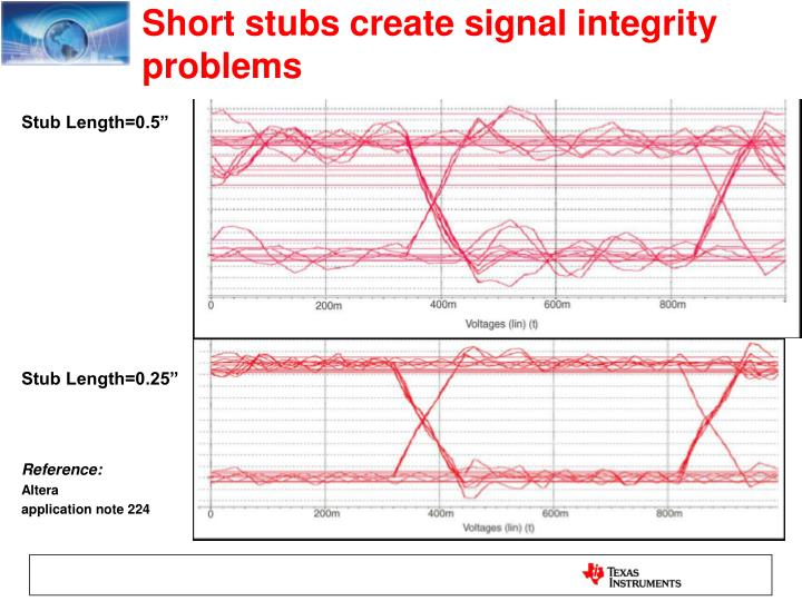 Short stubs create signal integrity problems