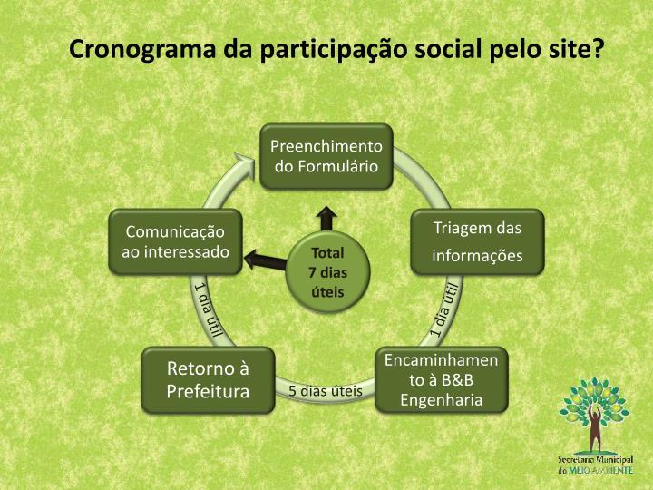Cronograma da participação social pelo site?