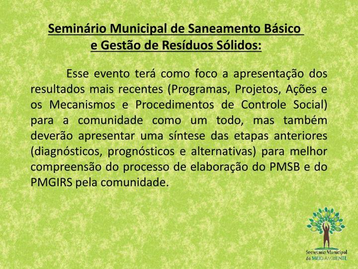 Seminário Municipal de Saneamento Básico