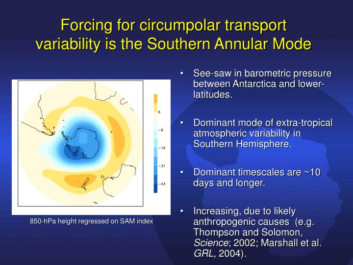 Forcing for circumpolar transport variability is the Southern Annular Mode