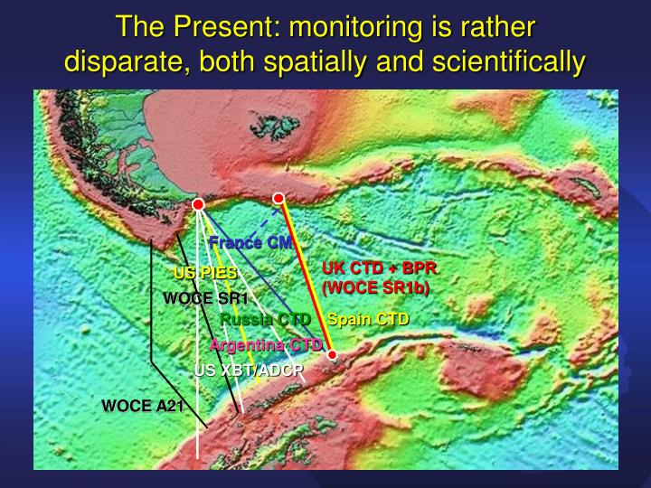 The Present: monitoring is rather disparate, both spatially and scientifically