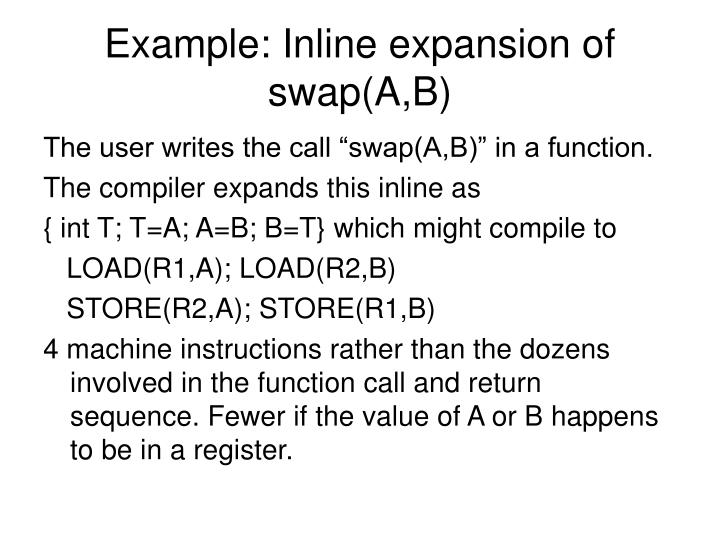 Example: Inline expansion of swap(A,B)