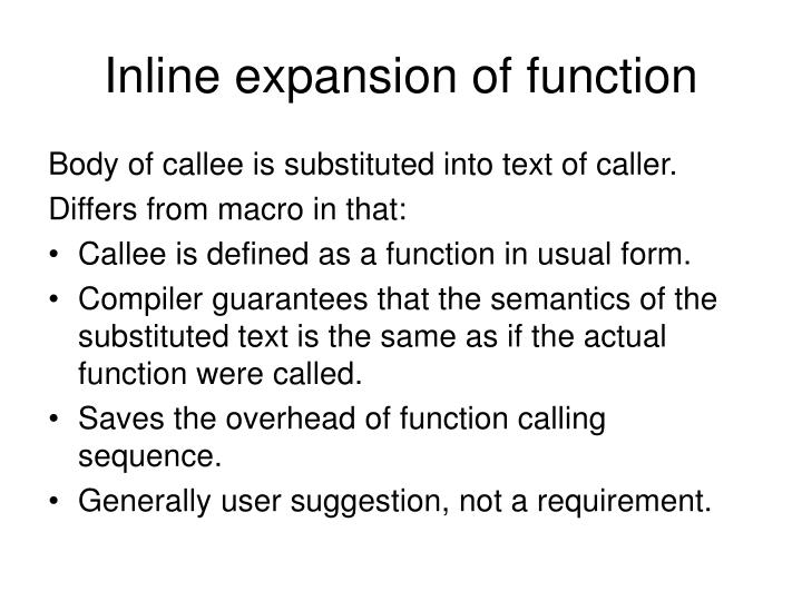 Inline expansion of function