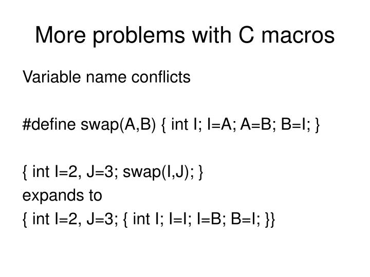 More problems with C macros