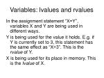 variables lvalues and rvalues