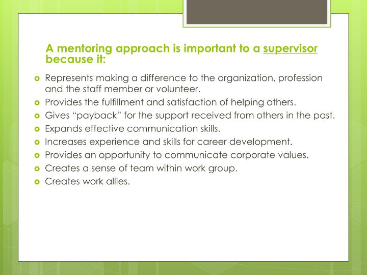 A mentoring approach is important to a