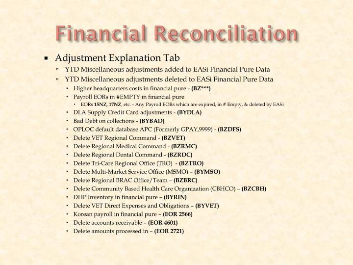 Financial Reconciliation