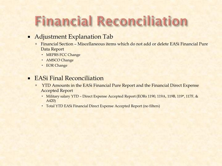 Financial Reconciliation