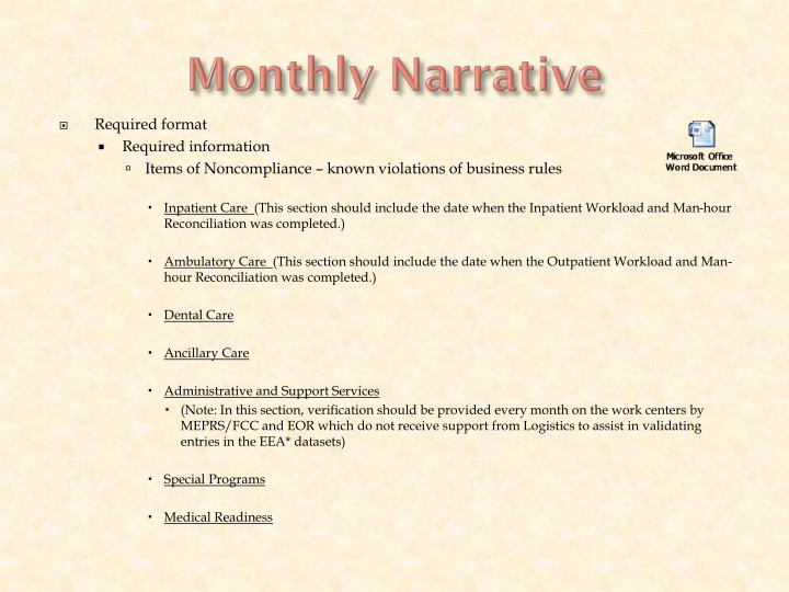 Monthly Narrative