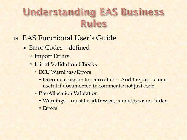 Understanding EAS Business Rules