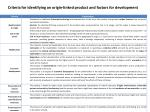 criteria for identifying an origin linked product and factors for development